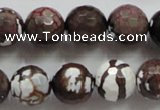 CAA807 15.5 inches 14mm faceted round fire crackle agate beads