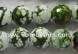 CAA808 15.5 inches 14mm faceted round fire crackle agate beads