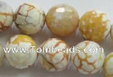 CAA816 15.5 inches 16mm faceted round fire crackle agate beads