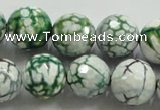 CAA817 15.5 inches 16mm faceted round fire crackle agate beads