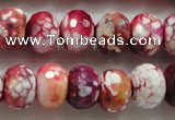 CAA826 15.5 inches 10*14mm faceted rondelle fire crackle agate beads