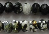 CAA828 15.5 inches 10*14mm faceted rondelle fire crackle agate beads