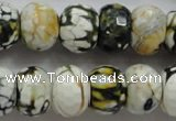 CAA832 15.5 inches 12*16mm faceted rondelle fire crackle agate beads