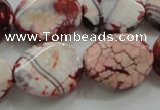 CAA835 15.5 inches 15*20mm twisted oval fire crackle agate beads