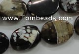 CAA837 15.5 inches 15*20mm twisted oval fire crackle agate beads
