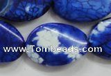 CAA839 15.5 inches 20*30mm twisted oval fire crackle agate beads