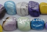 CAA84 15.5 inches 13*15mm nugget dyed white agate gemstone beads