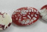 CAA840 15.5 inches 20*30mm twisted oval fire crackle agate beads