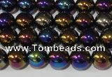 CAA850 15.5 inches 10mm round AB-color black agate beads