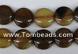 CAA893 15.5 inches 14mm flat round agate gemstone beads wholesale