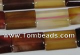 CAA903 15.5 inches 12*20mm flat tube agate gemstone beads wholesale