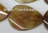 CAA911 15.5 inches 30*40mm twisted flat teardrop agate gemstone beads