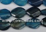 CAA936 15.5 inches 13*18mm faceted & twisted oval agate gemstone beads