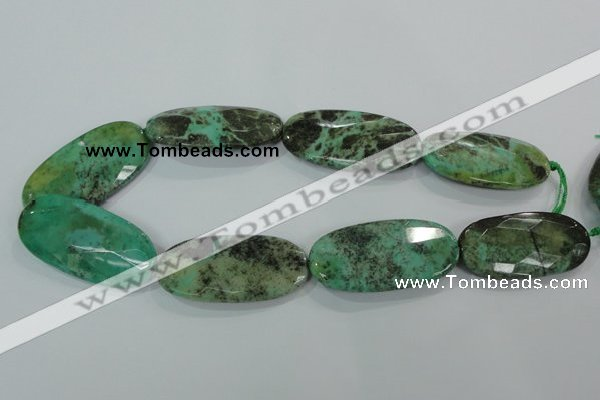 CAA95 15.5 inches 25*50mm faceted oval grass agate gemstone beads
