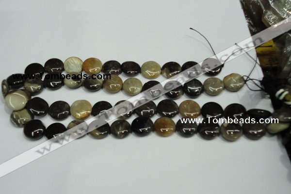 CAA950 15.5 inches 16mm flat round natural fossil wood agate beads