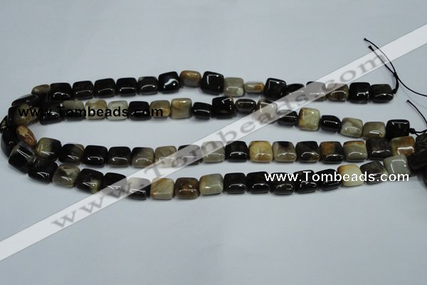 CAA951 15.5 inches 10*10mm square natural fossil wood agate beads