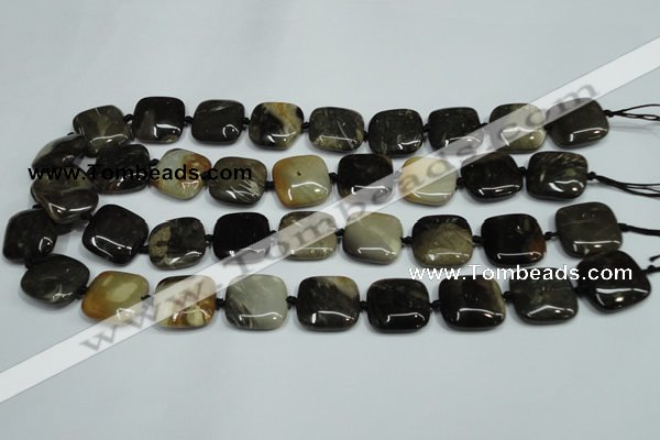 CAA954 15.5 inches 20*20mm square natural fossil wood agate beads