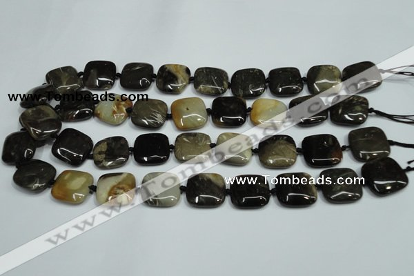 CAA955 15.5 inches 25*25mm square natural fossil wood agate beads