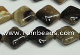 CAA956 15.5 inches 12*12mm diamond natural fossil wood agate beads