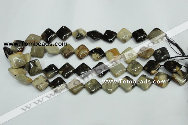 CAA957 15.5 inches 14*14mm diamond natural fossil wood agate beads