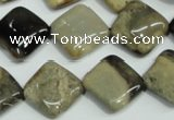 CAA958 15.5 inches 16*16mm diamond natural fossil wood agate beads