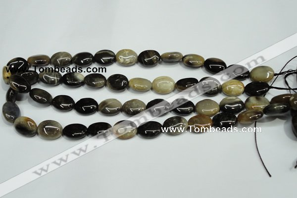 CAA959 15.5 inches 12*16mm oval natural fossil wood agate beads