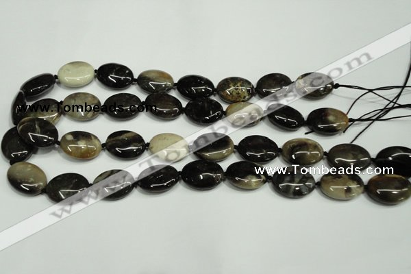 CAA960 15.5 inches 13*18mm oval natural fossil wood agate beads