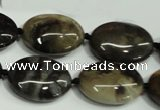 CAA961 15.5 inches 15*20mm oval natural fossil wood agate beads