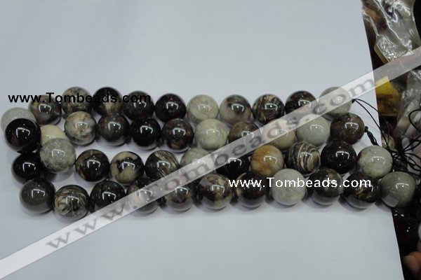 CAA968 15.5 inches 18mm round natural fossil wood agate beads