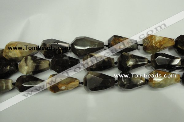 CAA970 28*40mm faceted teardrop natural fossil wood agate beads