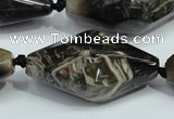 CAA972 20*40mm faceted rice natural fossil wood agate beads
