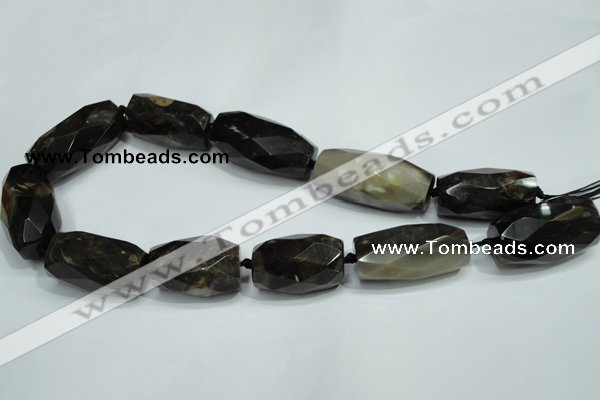 CAA973 18*30mm - 18*40mm faceted column natural fossil wood agate beads