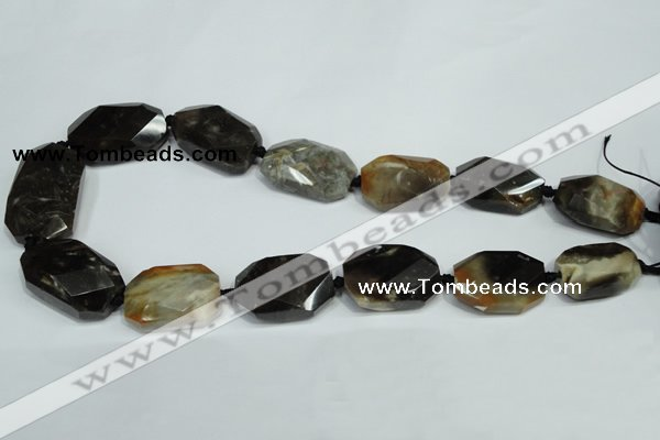 CAA974 18*25mm - 20*32mm faceted twisted rectangle fossil wood agate beads
