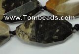 CAA975 22*38mm faceted & twisted oval natural fossil wood agate beads