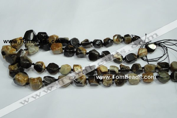 CAA977 8*10mm � 18*20mm nuggets natural fossil wood agate beads