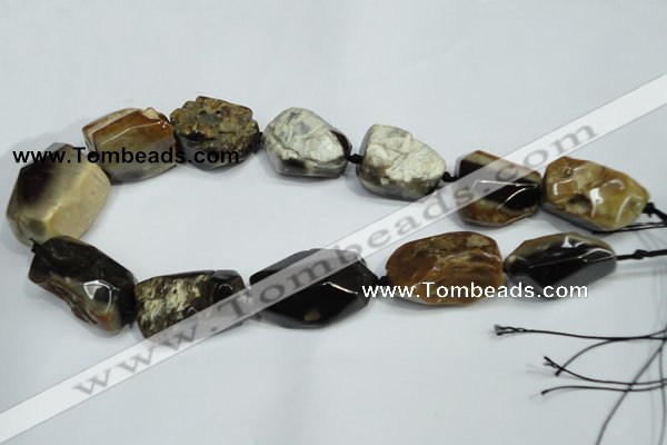 CAA979 20*30mm � 25*38mm nuggets natural fossil wood agate beads