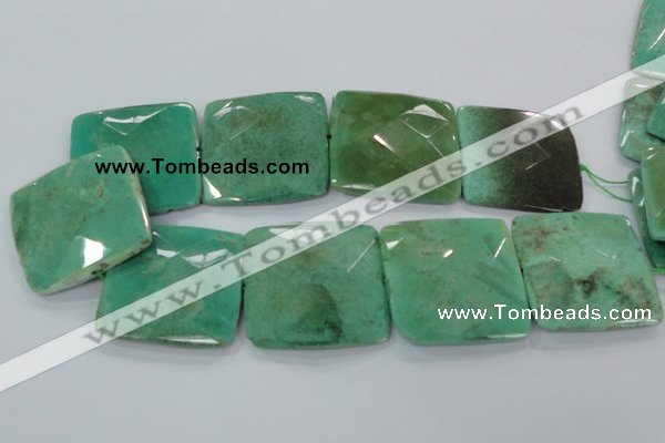CAA98 15.5 inches 45*45mm faceted square grass agate gemstone beads