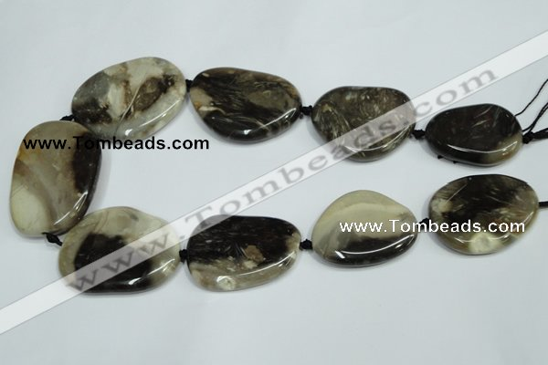 CAA980 25*35mm � 35*48mm nuggets natural fossil wood agate beads