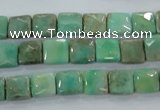 CAA99 15.5 inches 8*8mm faceted square grass agate gemstone beads