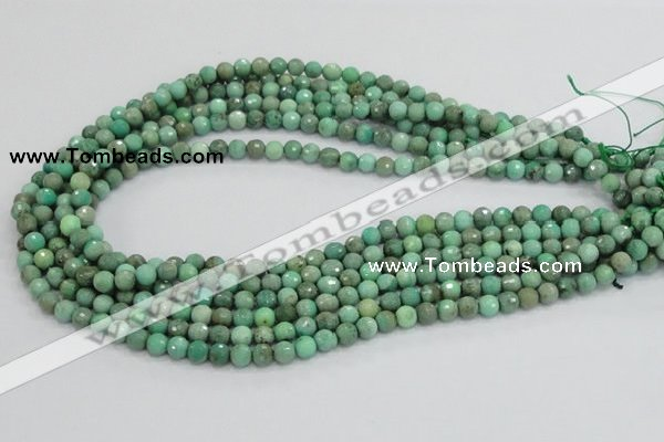 CAB06 15.5 inches 6mm faceted round green grass agate gemstone beads
