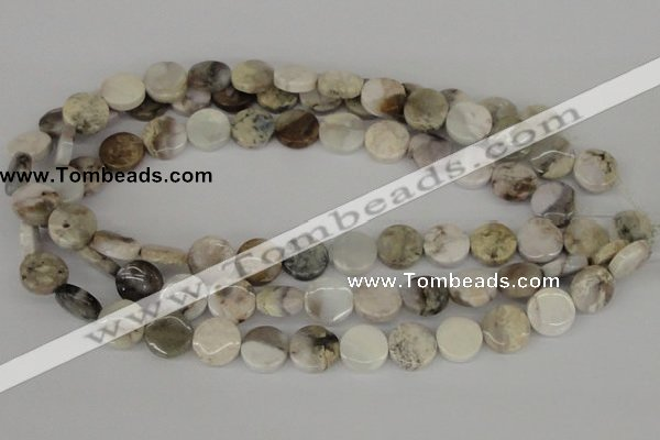 CAB100 15.5 inches 14mm coin natural brazil agate gemstone beads