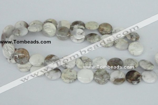 CAB102 15.5 inches 20mm flat round natural brazil agate beads