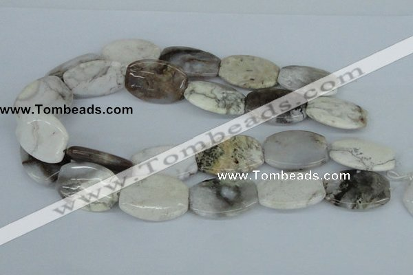 CAB107 15.5 inches 25*35mm flat drum natural brazil agate beads