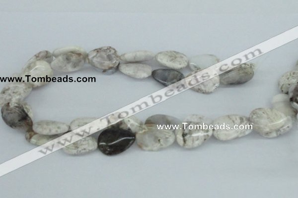 CAB109 15.5 inches 18*25mm flat teardrop natural brazil agate beads