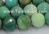 CAB11 15.5 inches 16mm faceted round green grass agate gemstone beads