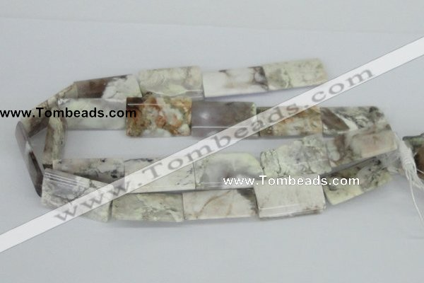 CAB116 15.5 inches 22*34mm flat column natural brazil agate beads