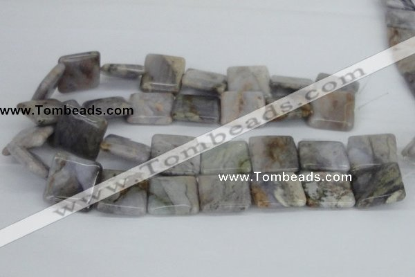 CAB120 15.5 inches 25*25mm square natural brazil agate gemstone beads