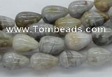 CAB143 15.5 inches 8*12mm teardrop bamboo leaf agate beads