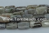 CAB156 15.5 inches 8*12mm rectangle bamboo leaf agate beads
