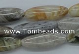 CAB162 15.5 inches 10*28mm horse eye  bamboo leaf agate beads